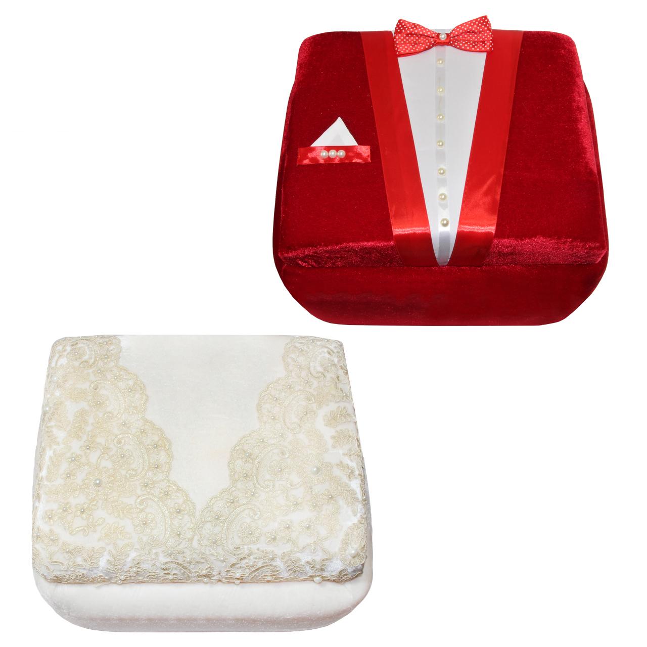 عکس جعبه هدیه طرح عروس و داماد مدل B124 بسته 2 عددی