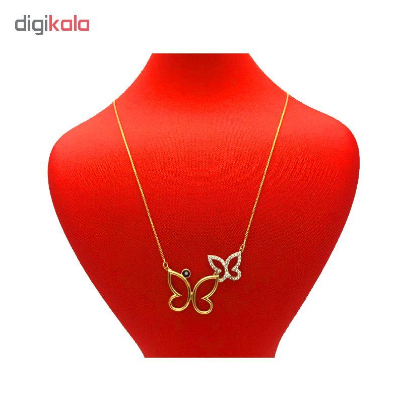 گردنبند طلا 18 عیار زنانه طرح پروانه  کد 126