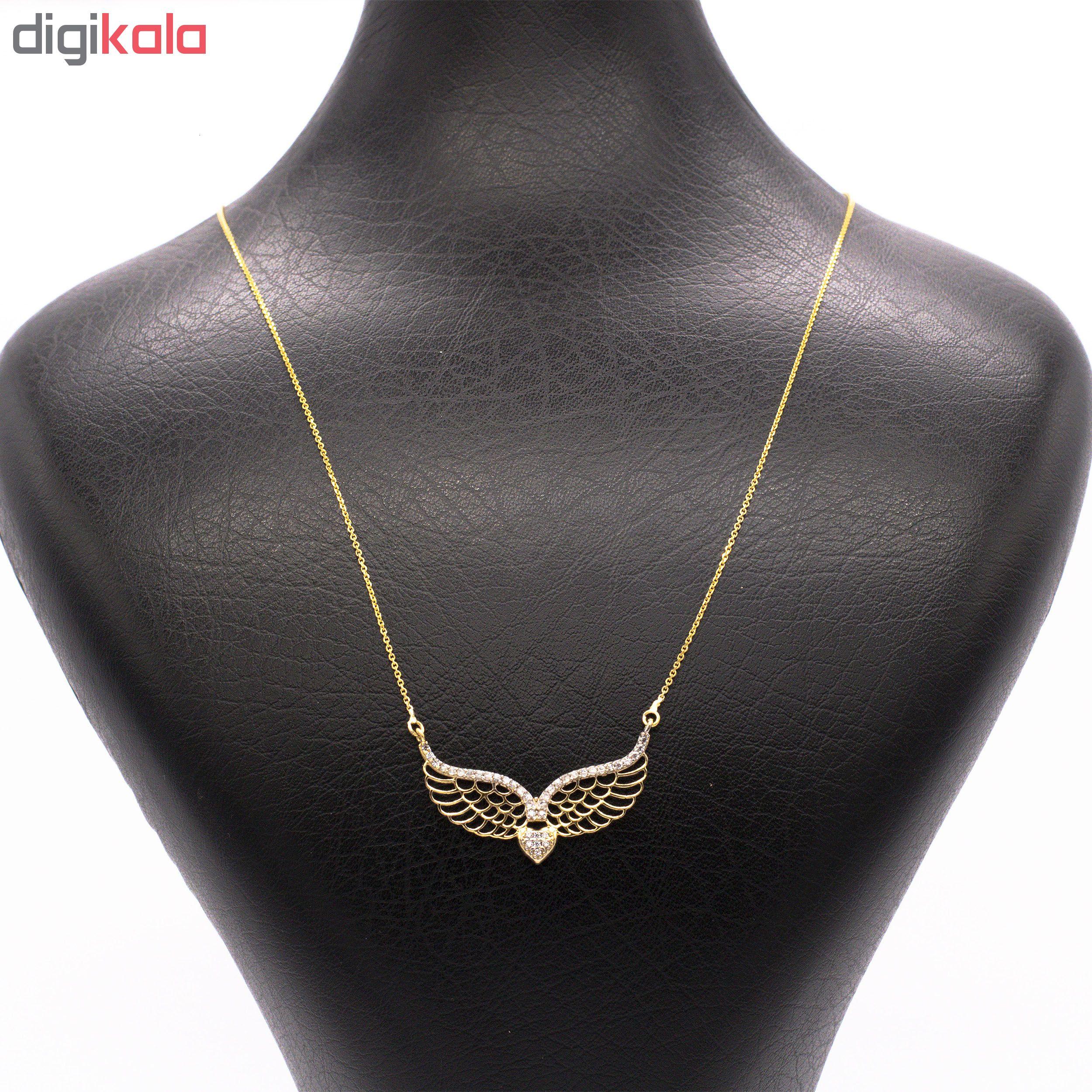 گردنبند طلا 18 عیار زنانه طرح بال کد 135