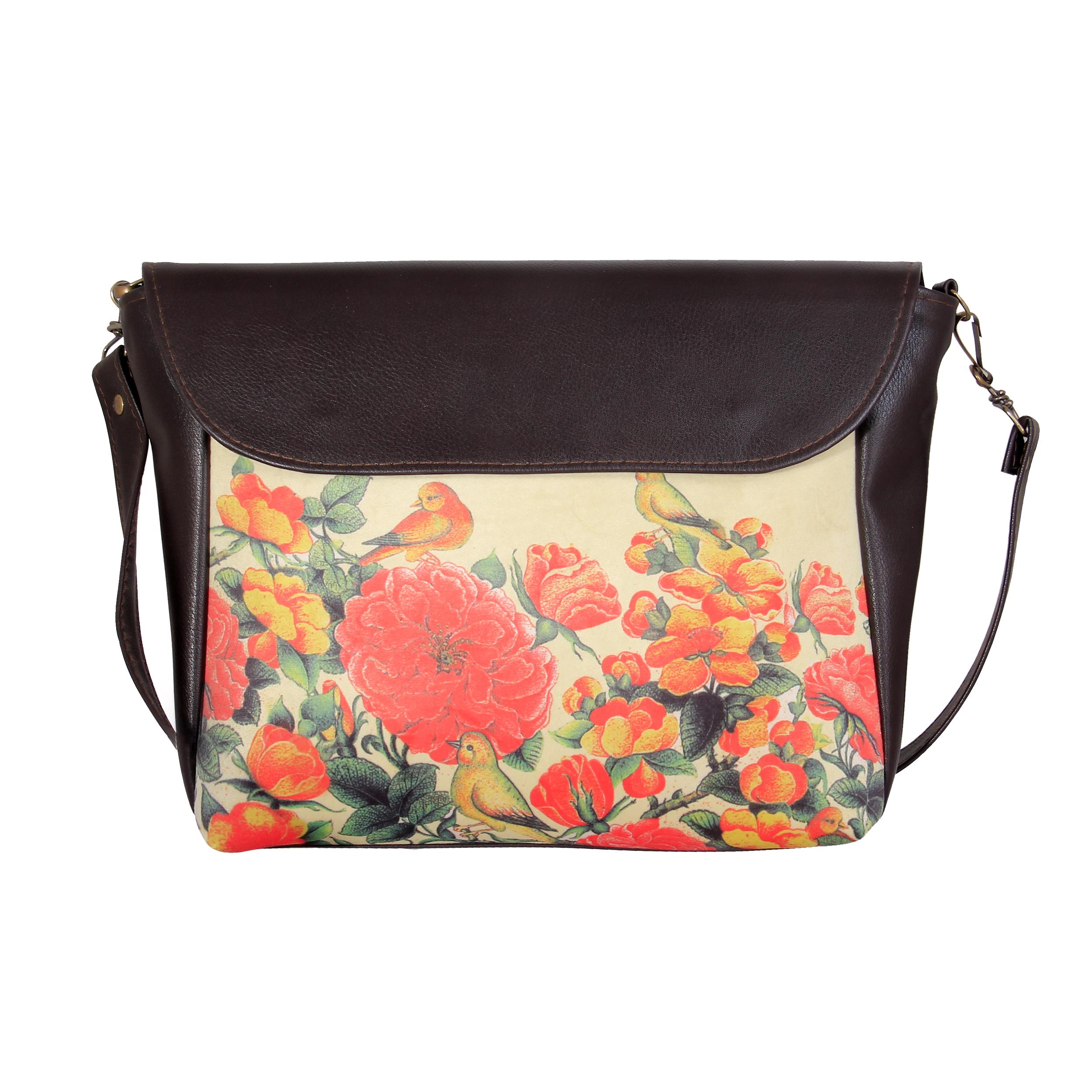 کیف رو دوشی چرمی مدل گل و بلبل کد CS