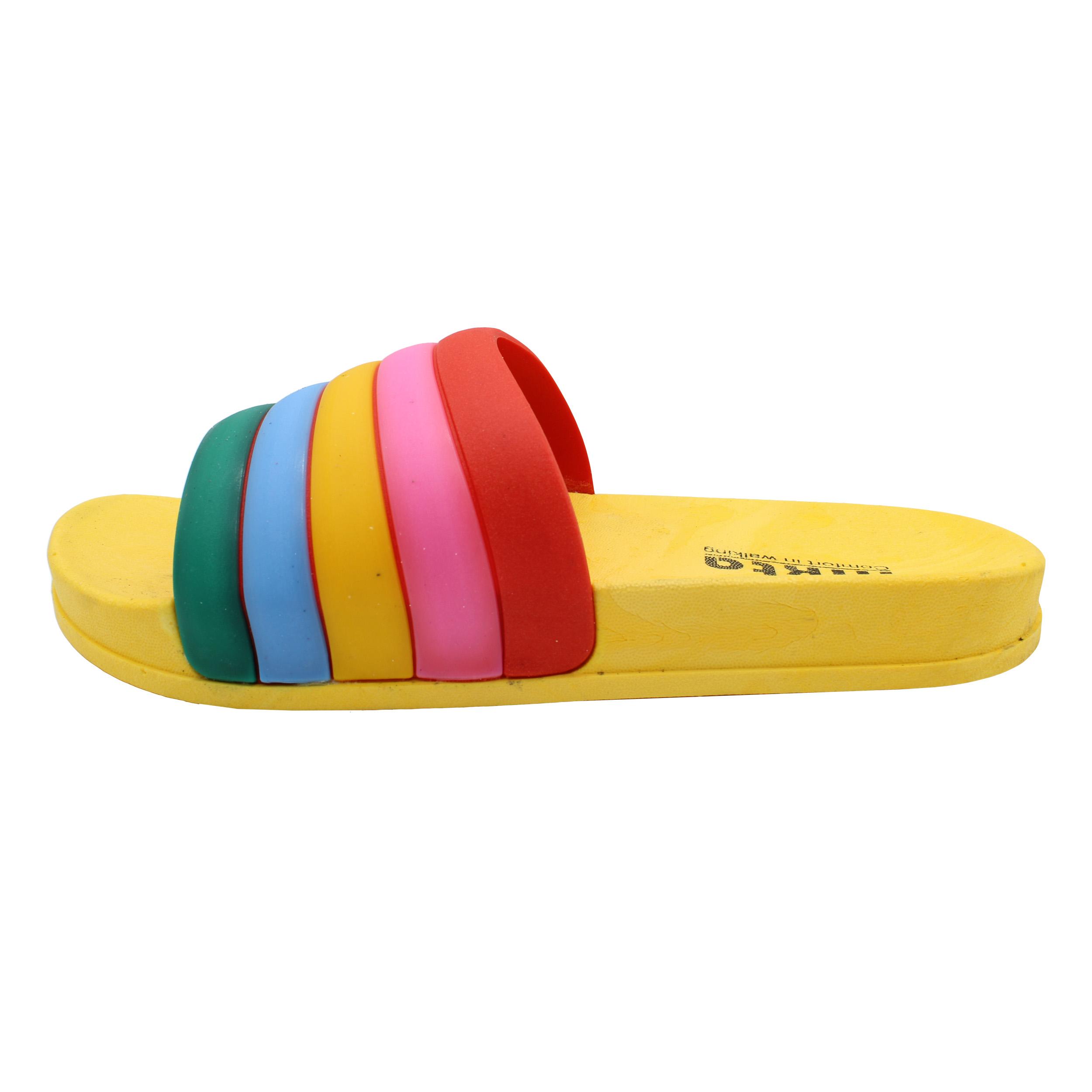 دمپایی دخترانه نیکتا طرح رنگین کمان کد K1-304-YW