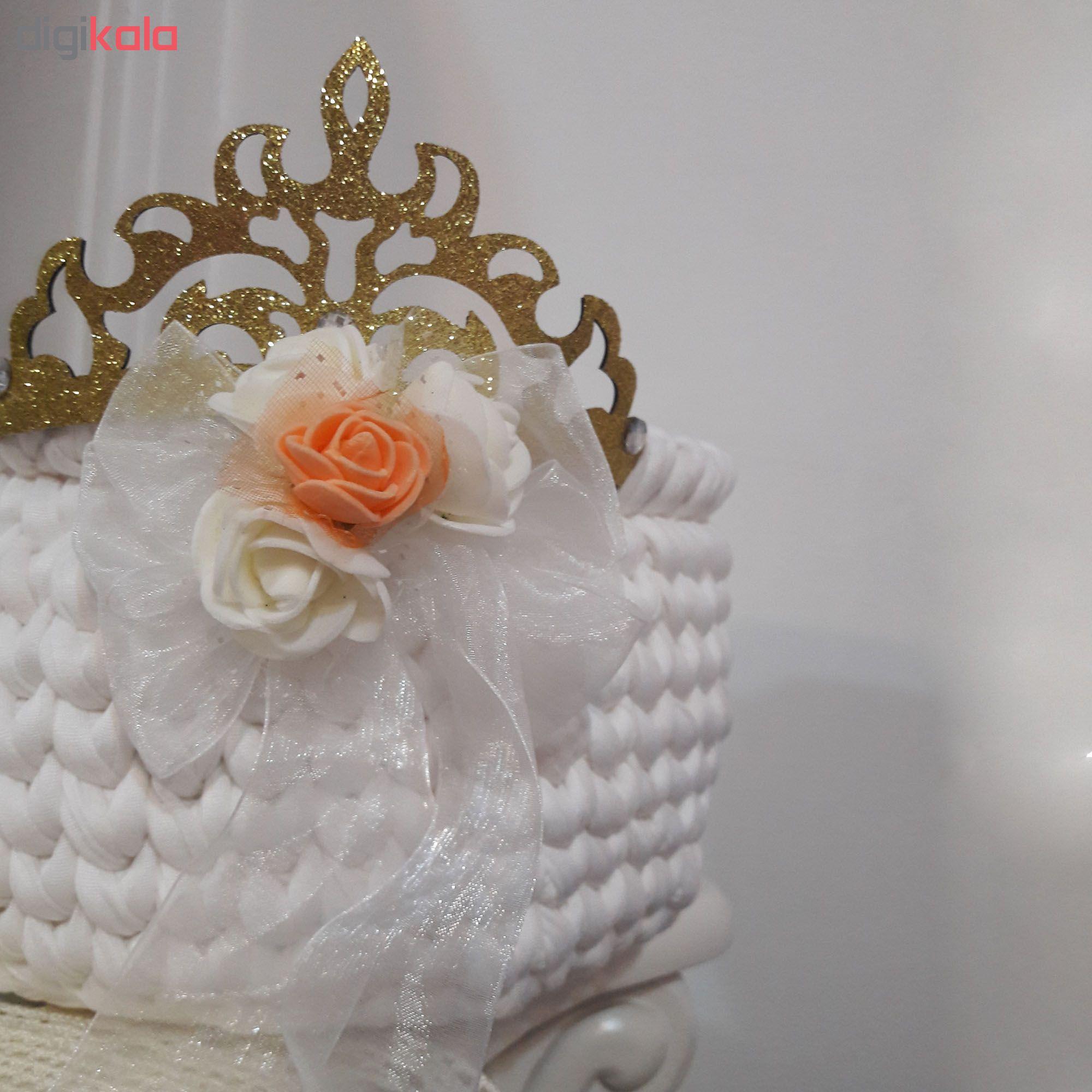 خرید                      سبد قلاب بافی تریکو طرح عروس و داماد کد C20 مجموعه دو عددی