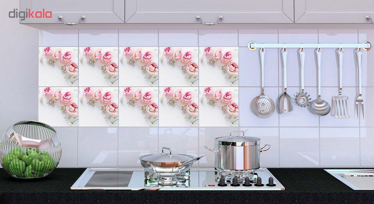 استیکر کاشی طرح pink flower بسته 15 عددی
