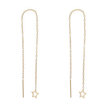 گوشواره طلا 18 عیار زنانه طرح ستاره کد EL-001