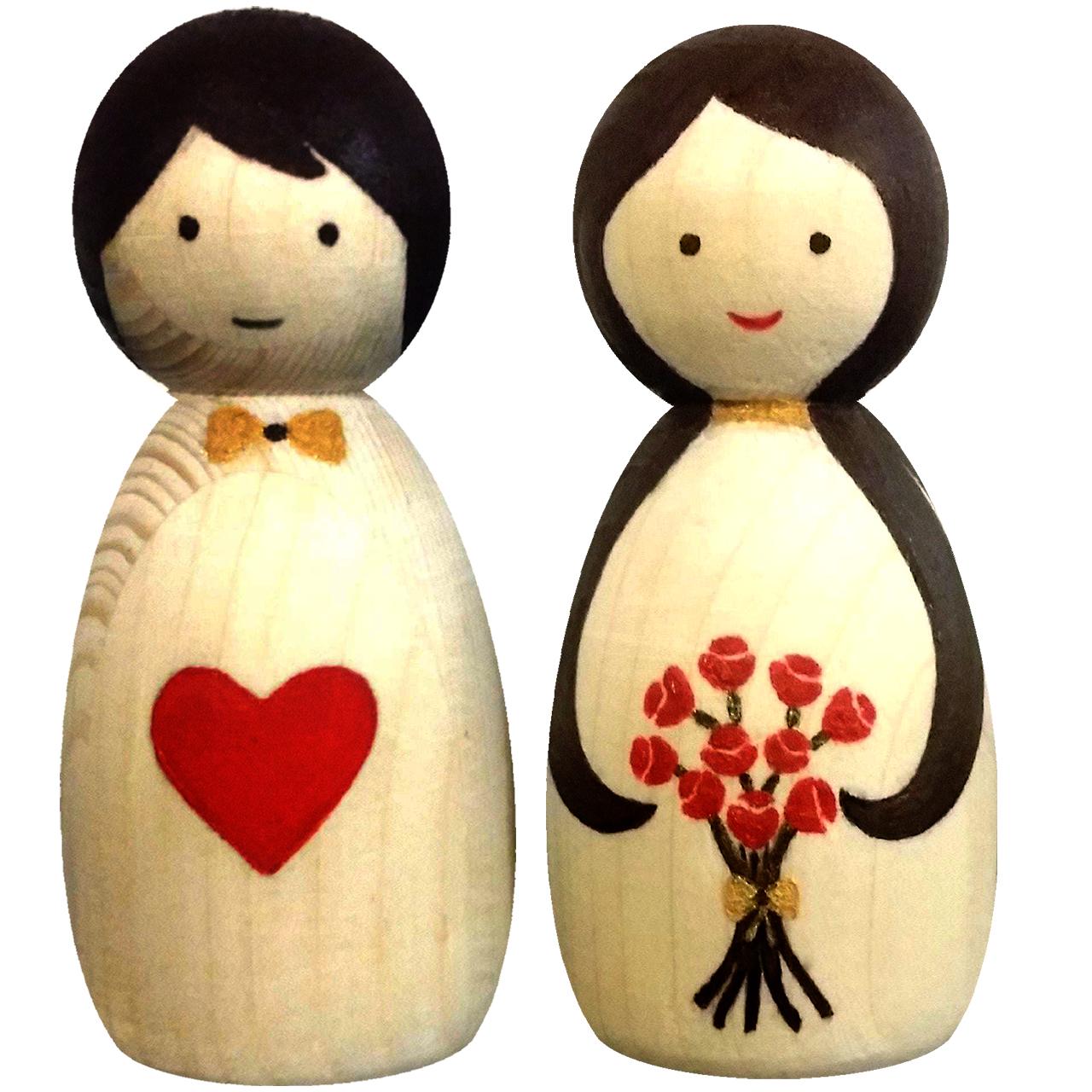 عکس مجسمه چوبی مدل عاشقانه دسته گل کد 01dlove flower مجموعه 2 عددی