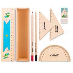 بسته لوازم تحریر ماین  مدل timber set کد 3 -601 مجموعه 9 عددی