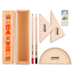 بسته لوازم تحریر ماین  مدل timber set کد 4 -601 مجموعه 9 عددی