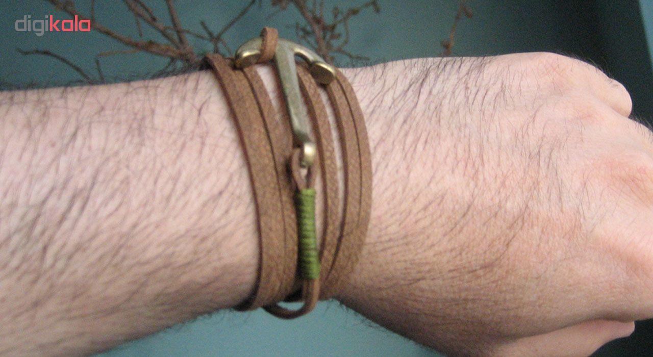 دستبند چرم دانوب طرح لنگر کد 001
