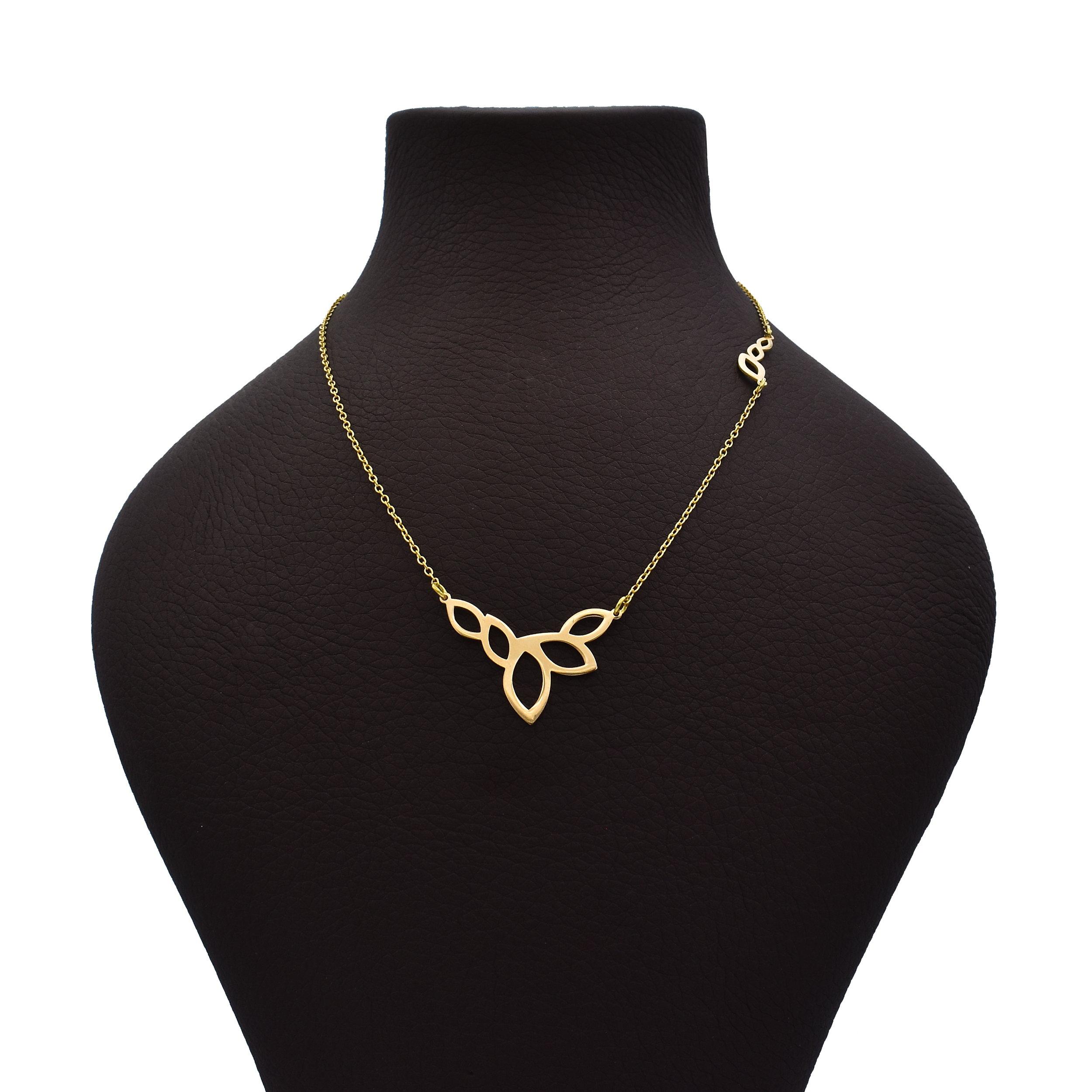 گردنبند طلا 18 عیار زنانه طرح برگ کد 372M66