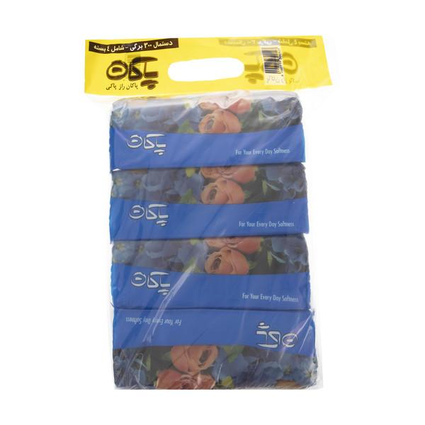 دستمال کاغذی 300 برگ پاکان مدل Blue بسته 4 عددی
