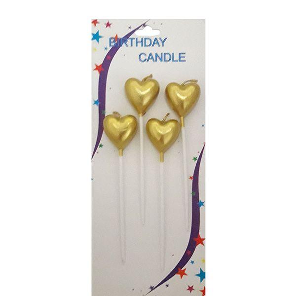 شمع تولد طرح قلب کد 22 بسته 4عددی