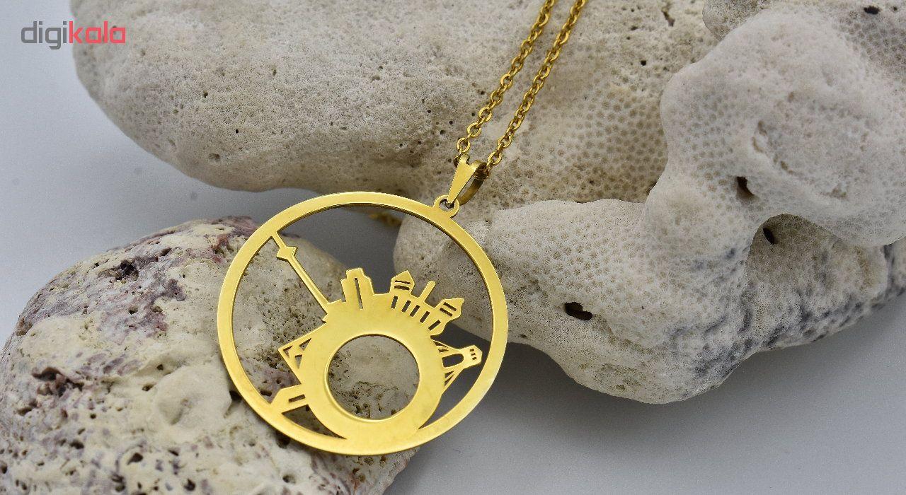 گردنبند طلا 18 عیار نه آرشا گالری طرح برج میلاد کد 331A2448