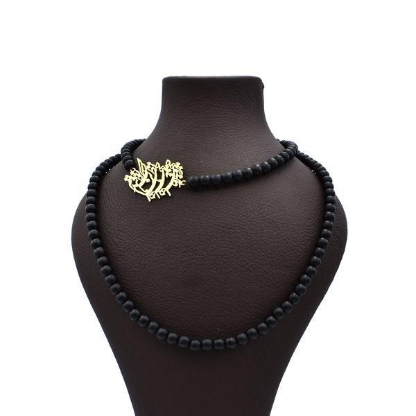 گردنبند طلا 18 عیار زنانه آرشا گالری طرح شعر اسلیمی کد 326A2453