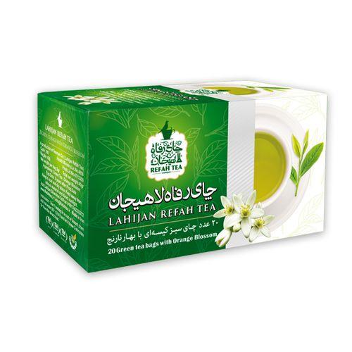 چای سبز کیسه ای با طعم بهارنارنج رفاه لاهیجان مقدار 40گرم