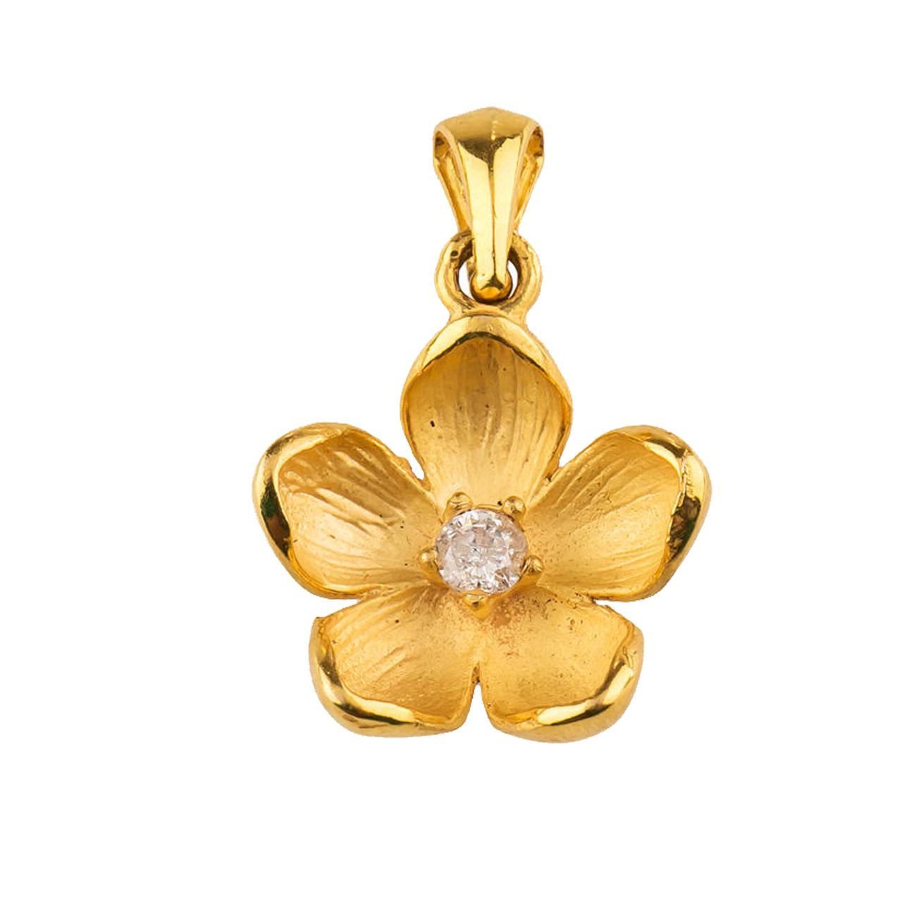 آویز گردنبند طلا 18 عیار زنانه طرح گل کد TG105