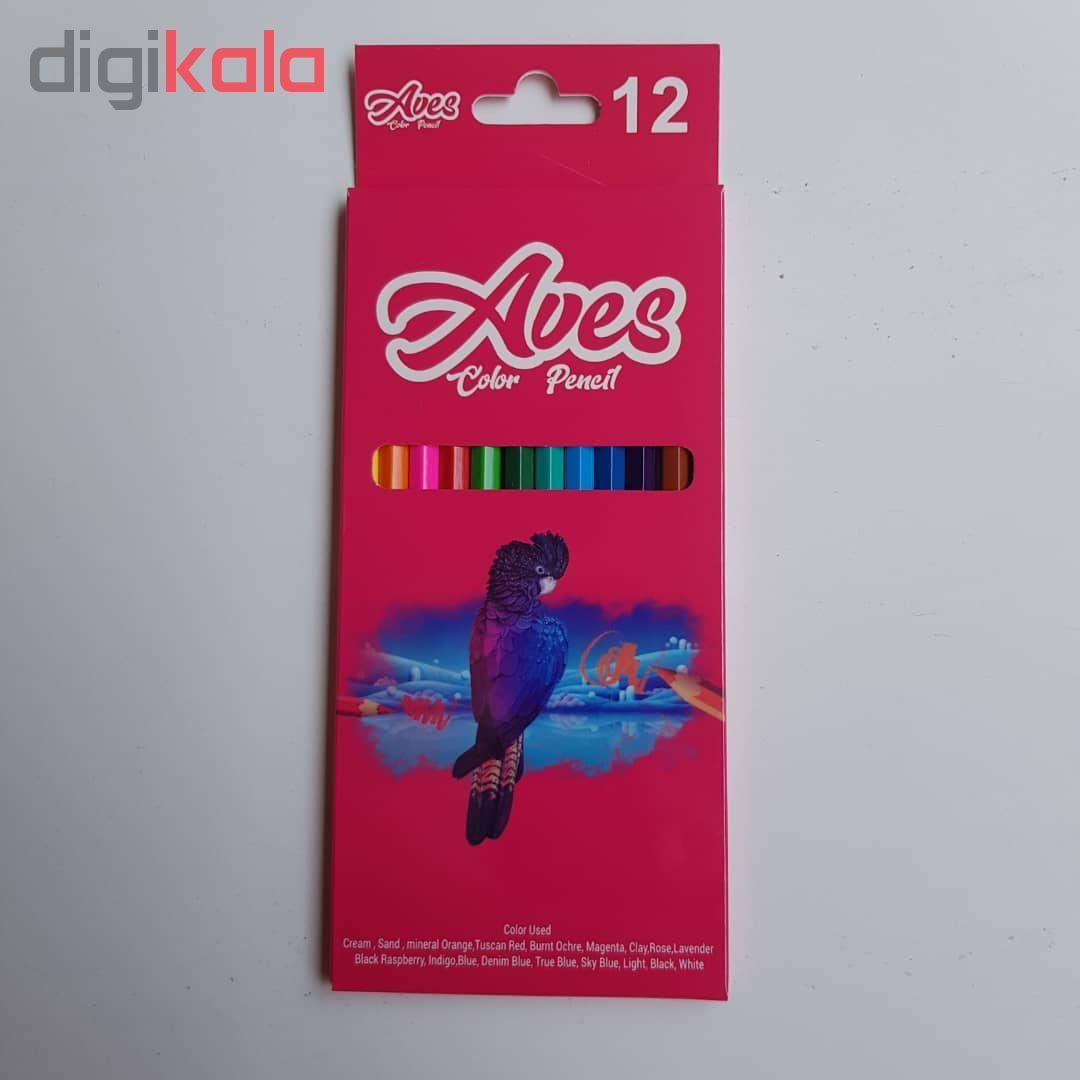 مداد رنگی 12 رنگ اویز مدل فانی فان مجموعه 4 عددی main 1 2