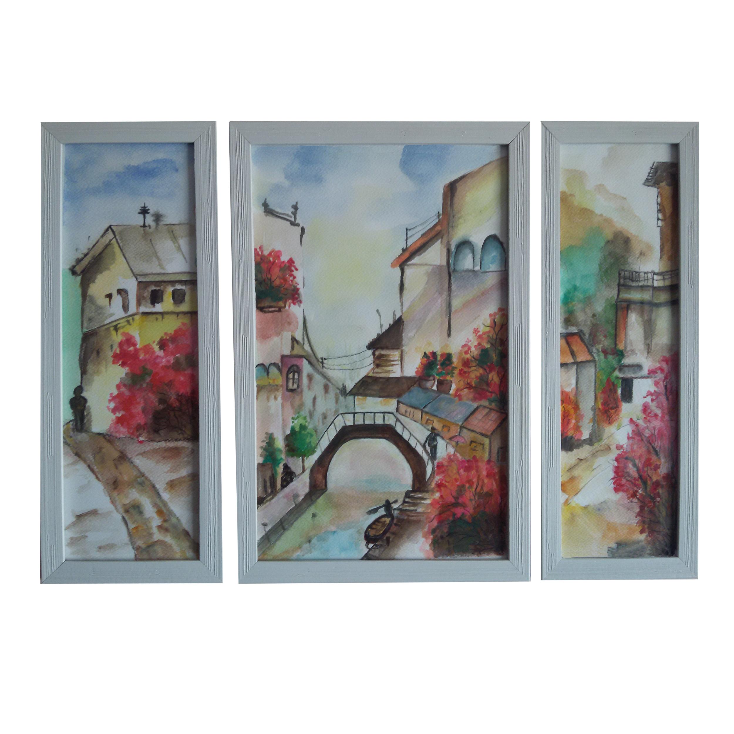 تابلوی نقاشی آبرنگ طرح شهر آرام مجموعه سه عددی