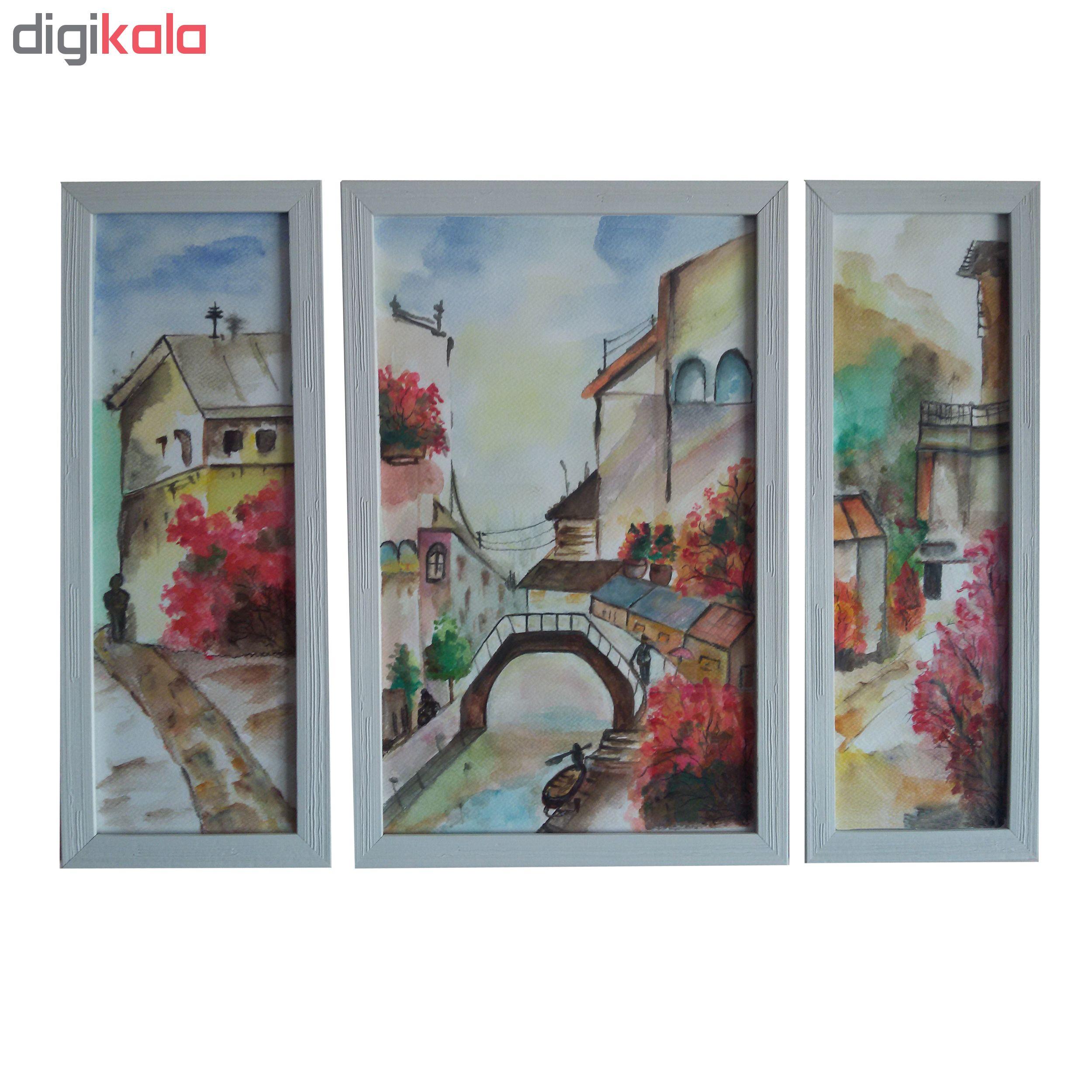 خرید                      تابلوی نقاشی آبرنگ طرح شهر آرام مجموعه سه عددی