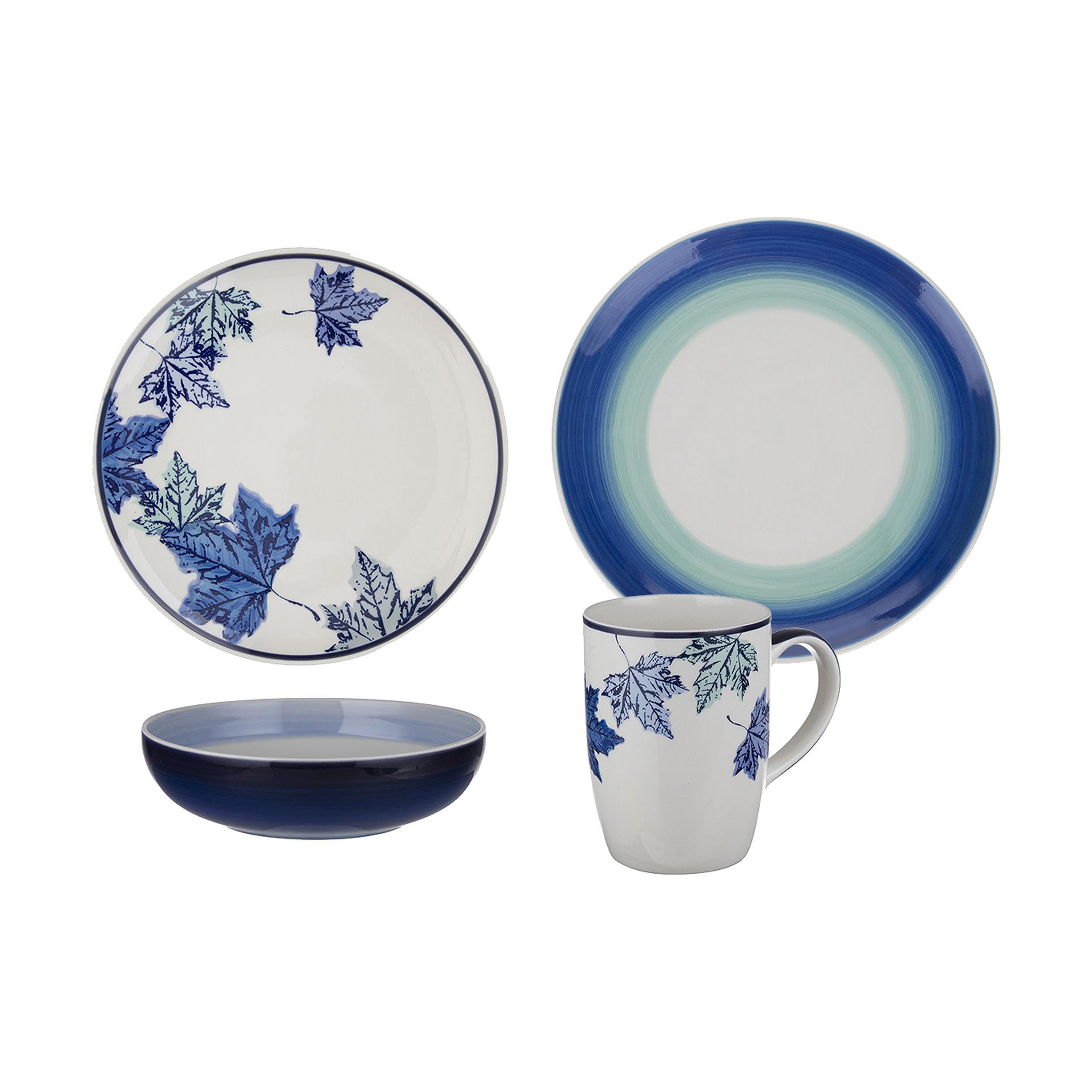 عکس سرویس ظروف غذا خوری 16 پارچه سرامیکی مدل Blue Fall