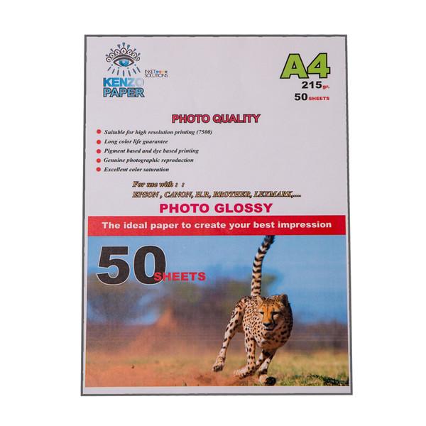 کاغذ چاپ عکس فتوگلاسه کنزو مدل K215-PG سایز A4 بسته 50 عددی