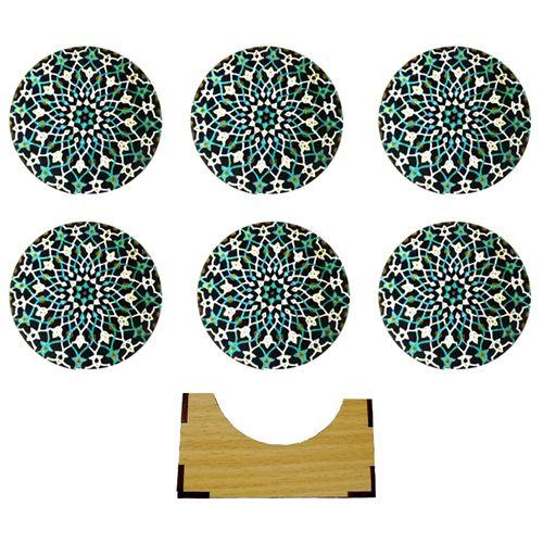 زیر لیوانی طرح کاشی مدل ing بسته 6 عددی
