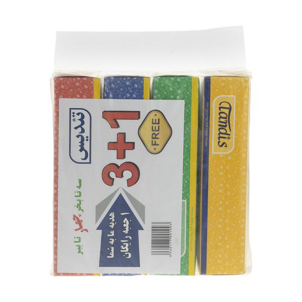 دستمال کاغذی 100 برگ تندیس مدل Flower بسته 4 عددی