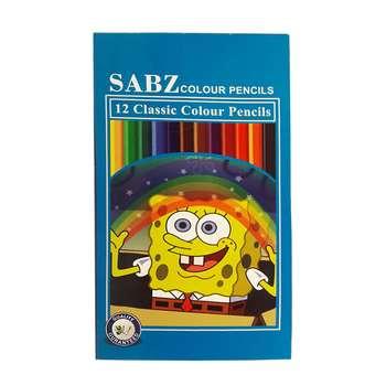 مداد رنگی 12 رنگ سبز طرح باب اسفنجی کد 110696