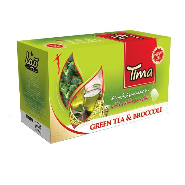 چای سبز با کلم بروکلی کیسه ای تیما بسته 100 عددی