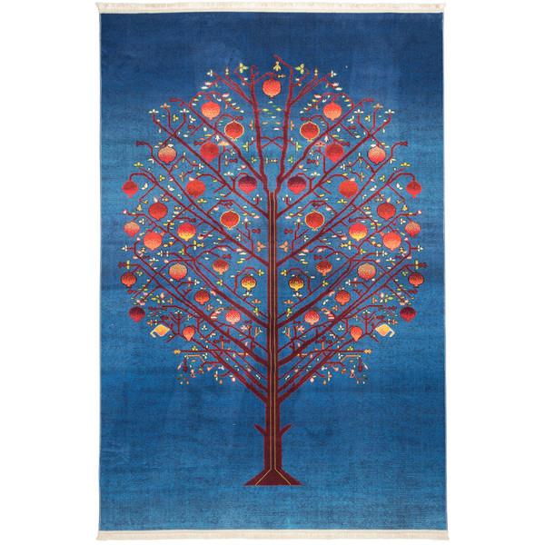 فرش ماشینی محتشم طرح سنتی کد 100306 زمینه آبی