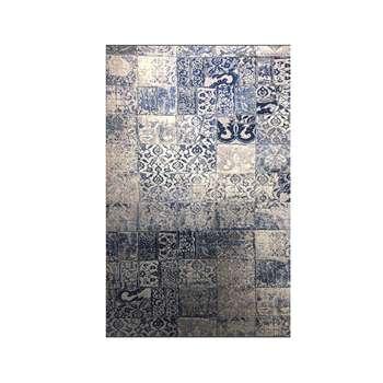 فرش ماشینی طرح colorful کد CO16 زمینه طوسی آبی