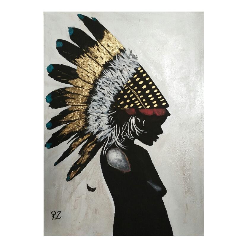 تابلو نقاشی اکریلیک طرح دختر سرخپوست مدل p01