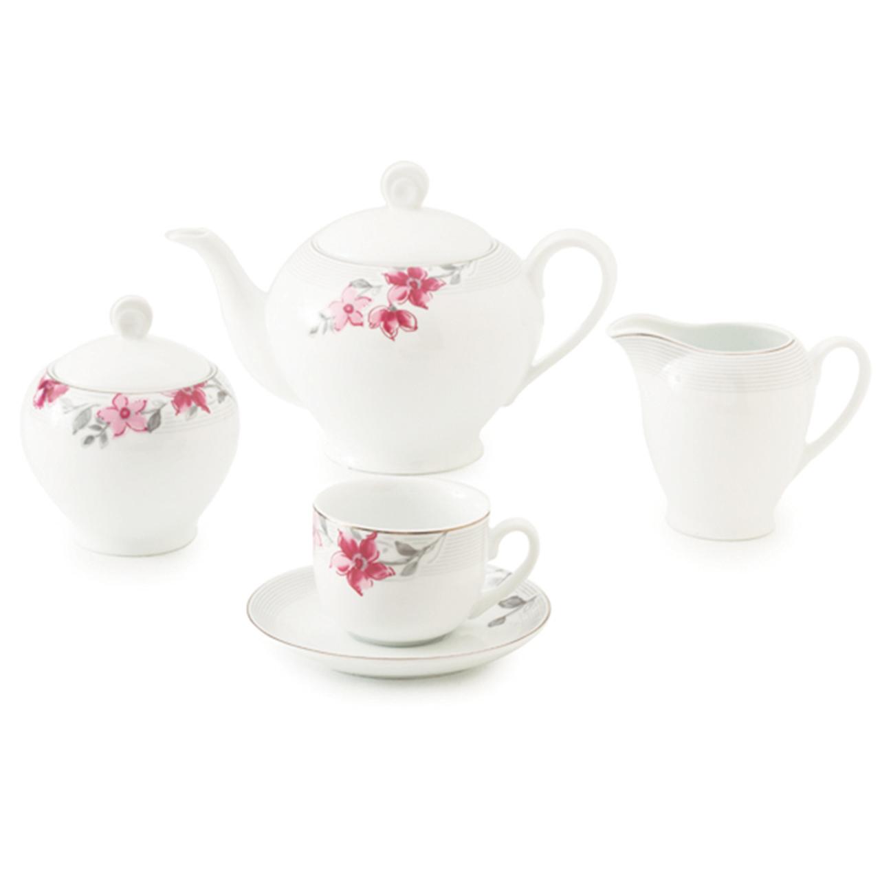 سرویس چای خوری 17 پارچه چینی زرین ایران سری ایتالیا اف مدل کردوبا درجه یک