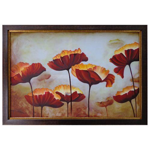 تابلو نقاشی رنگ روغن طرح گلهای قشقایی