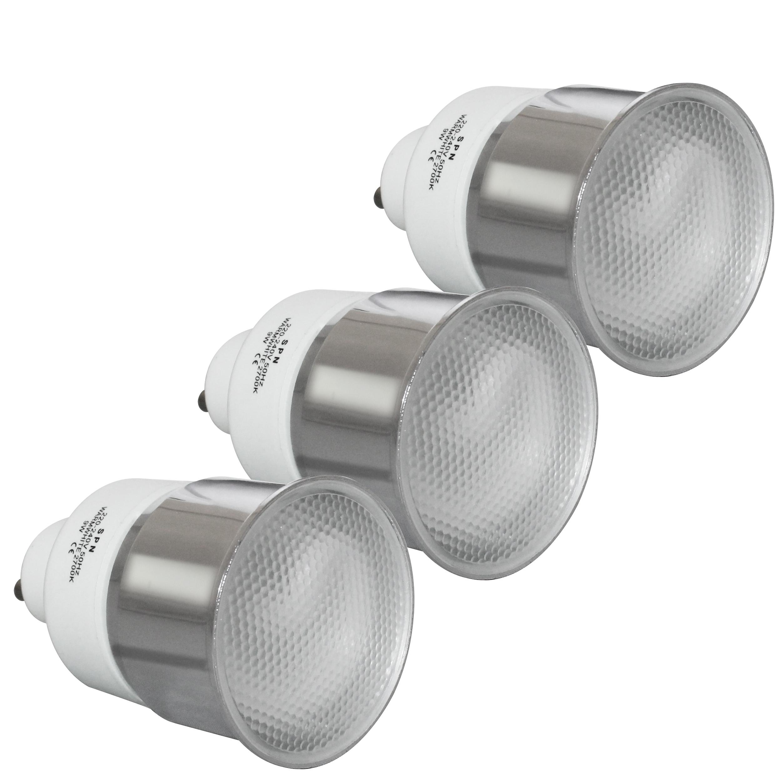لامپ کم مصرف 9 وات اس پی ان کد 01 پایه  GU10 بسته 3 عددی