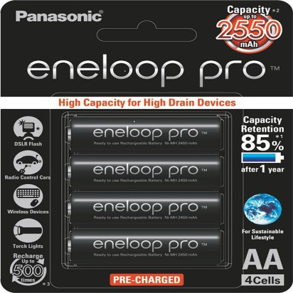 باتری قلمی قابل شارژ پاناسونیک مدل Eneloop Pro BK-3HCCE/4BT بسته 4 عددی AA4