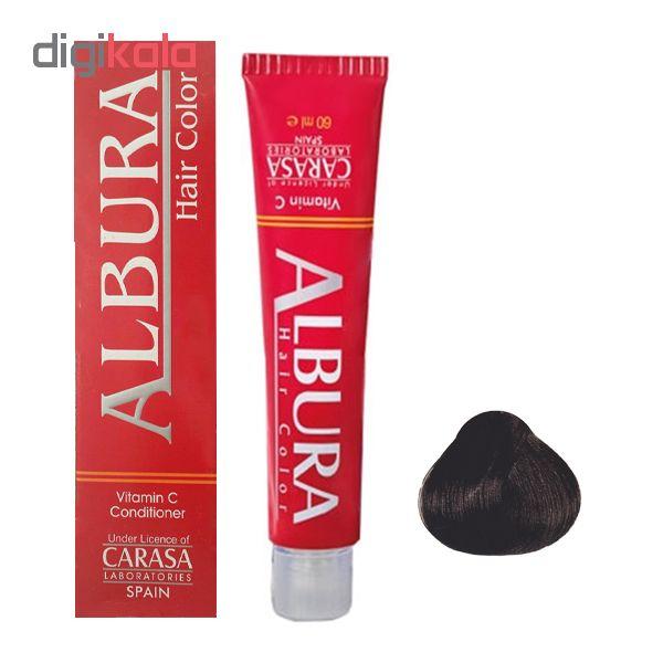 رنگ مو آلبورا مدل carasa شماره NF2-3.00 حجم 100 میلی لیتر رنگ قهوه ای تیره