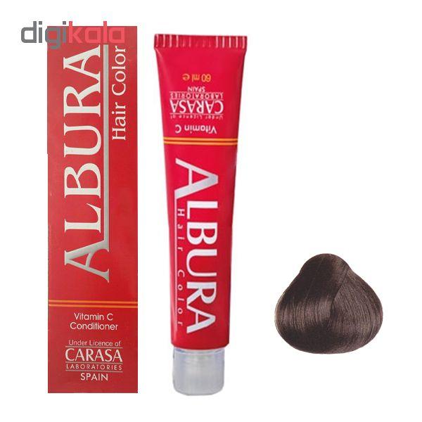 رنگ مو آلبورا مدل carasa شماره NF4-5.00 حجم 100 میلی لیتر رنگ قهوه ای روشن
