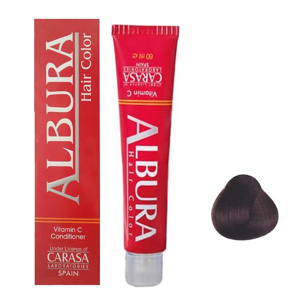 رنگ مو آلبورا مدل carasa شماره 4.7 حجم 100 میلی لیتر رنگ شکلاتی قهوه ای متوسط