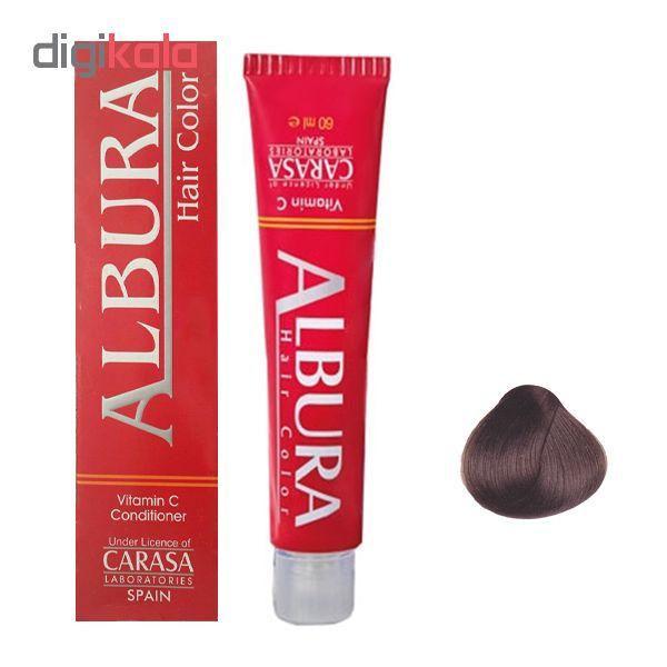 رنگ مو آلبورا مدل carasa شماره 5.7 حجم 100 میلی لیتر رنگ شکلاتی قهوه ای روشن
