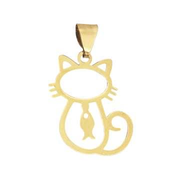 آویز گردنبند طلا 18 عیار زنانه طرح گربه کد 382M76