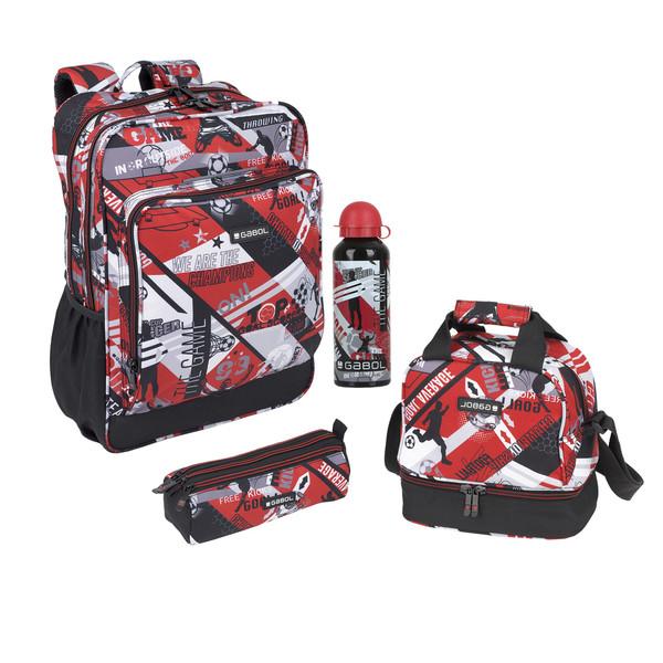 کوله پشتی گابل مدل Game کد 32 به همراه جامدادی و کیف ظرف غذا و قمقمه