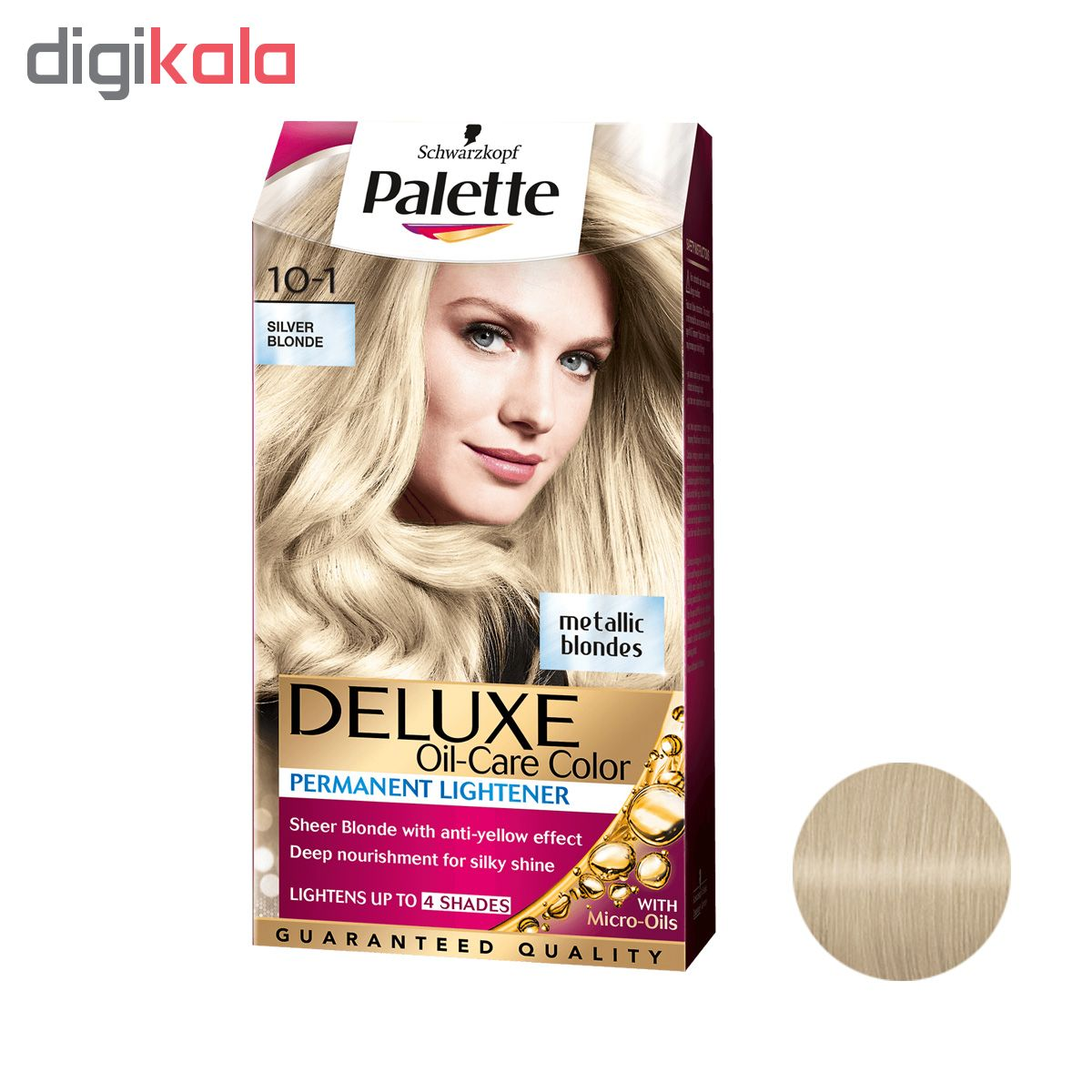 کیت رنگ مو پلت سری DELUXE شماره 1-10 حجم 50 میلی لیتر رنگ بلوند نقره ای