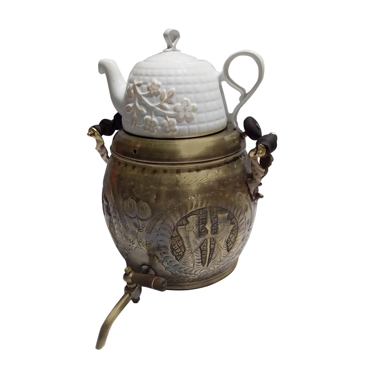 ست کتری و قوری برنجی مدل پلوتون طرح هخامنش کد 1219