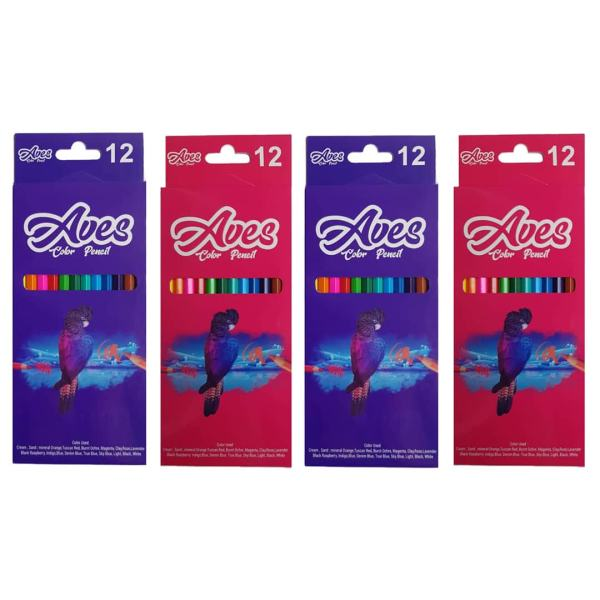 مداد رنگی 12 رنگ اویز مدل فانی فان مجموعه 4 عددی