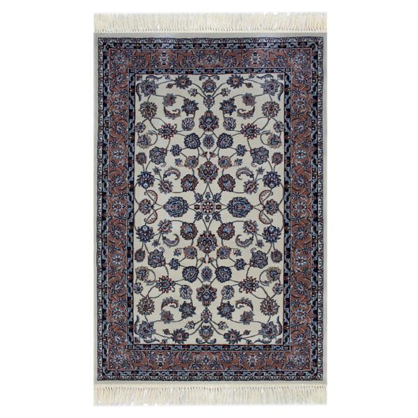 فرش ماشینی ساوین کد 2106 زمینه کرم صورتی