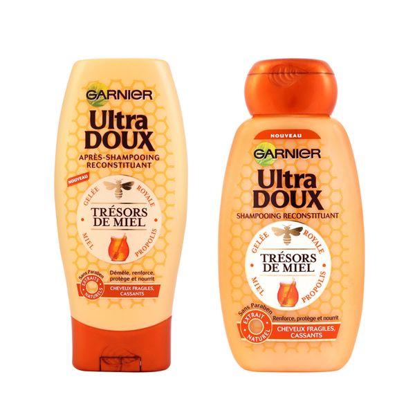 مجموعه شامپو و نرم کننده مو گارنیه سری Ultra Doux مدل Honey