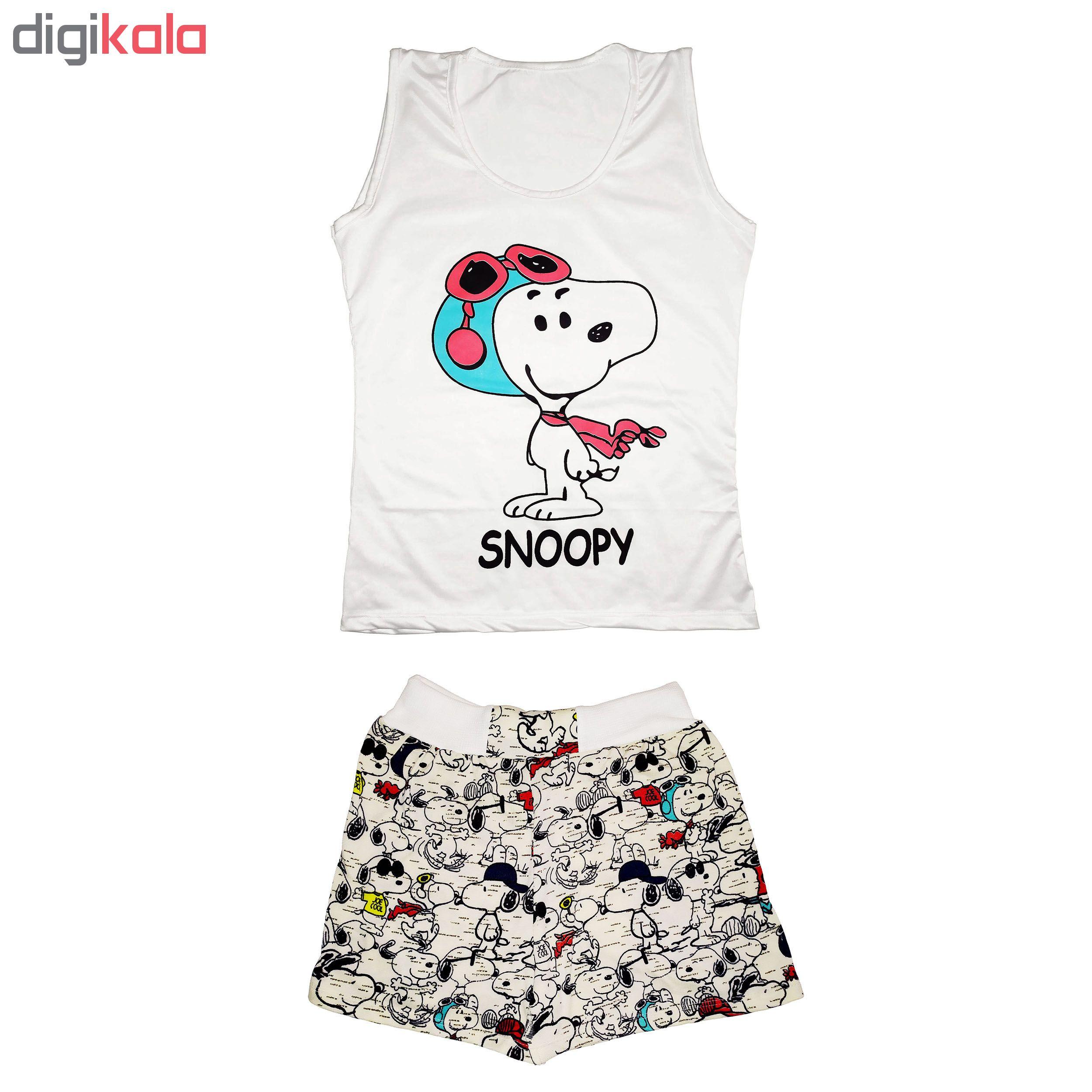 خرید                                      ست تاپ و شلوارک زنانه طرح snoopy کد pi42