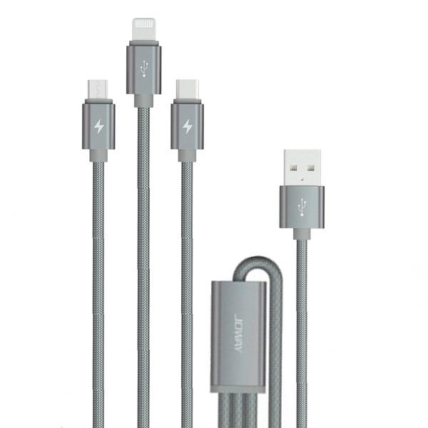 کابل تبدیل USB به لایتنینگ/USB-C/microUSB جووی مدل li61 طول 1.5 متر
