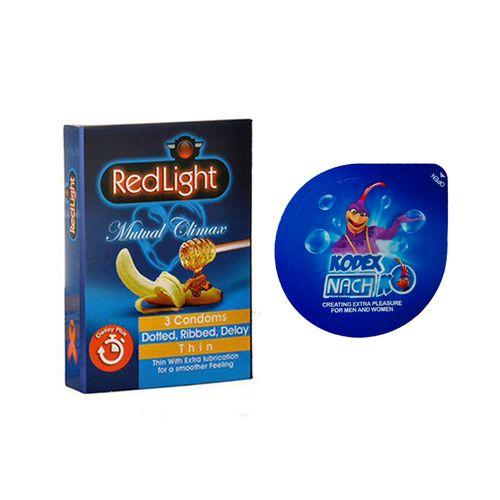 کاندوم ردلایت مدل Mutual Climax بسته 12 عددی به همراه کاندوم ناچ کدکس مدل بلیسر