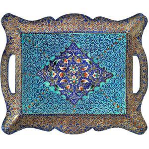 سینی میناکاری مسی آسمانی مدل بوستان کد S-4